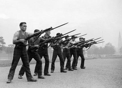 Men of the Argyll and Sutherland Highlanders during bayonet practice, November 1939.