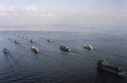 Royal Navy ships of the Armilla Patrol during the Gulf War, 1990 - 1991.