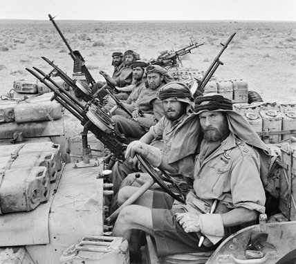 A heavily-armed jeep patrol from 'L' Detachment SAS in North Africa, 18 January 1943.