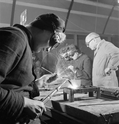 Members of the Women's Royal Naval Service (WRNS) practice welding at a Government Training Centre as part of their training to become Ship Mechanics in 1943.