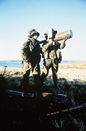 A Blowpipe surface-to-air missile detachment of 5 Infantry Brigade stands guard at Bluff Cove in the Falkland Islands, June 1982.