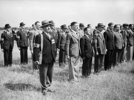 A parade of 'Old Contemptibles' - men who had served in France and Belgium in 1914 - in the Local Defence Volunteers, soon to be renamed the Home Guard, 1 July 1940.
