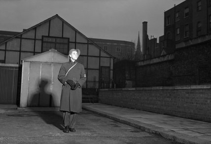 George Metcalfe on duty as a fire watcher at a factory in Upper Norwood, South London, 1944.