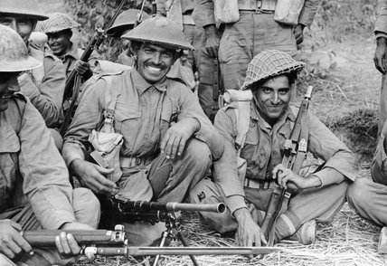 An Indian infantry section of the 2nd Battalion, 7th Rajput Regiment about to go on patrol on the Arakan front in Burma, 1944.