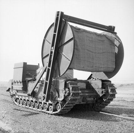 Churchill AVRE carpet-layer with bobbin, 79th Armoured Division, March/April 1944.