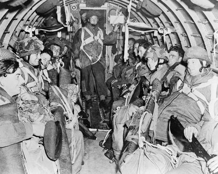 British paratroops of 1st Airborne Division in a Dakota aircraft on their way to Arnhem during Operation 'Market Garden', 17 September 1944.