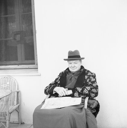 Winston Churchill sits in the sunshine at Marrakesh, Morocco, during a period of convalescence after falling ill with pneumonia, December 1943.