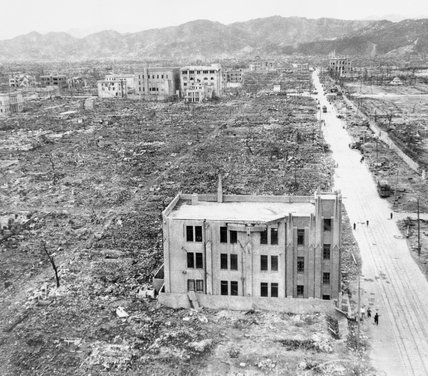 A view of the devastation caused by the atomic bomb that was dropped on Hiroshima in Japan, 6 August 1945.