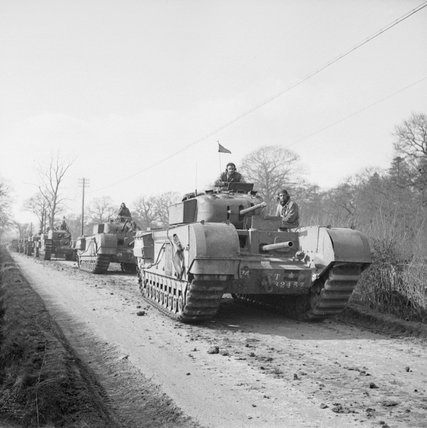 Churchill tanks during Exercise 'Spartan' in the UK, 9 March 1943.