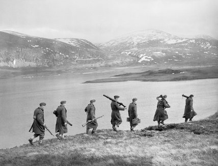 A Home Guard section on patrol along the shores of Loch Stack in the Highlands of Scotland, 14 February 1941