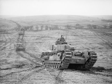 Churchill tanks of 9th Royal Tank Regiment during an exercise at Tilshead on Salisbury Plain, 31 January 1942.