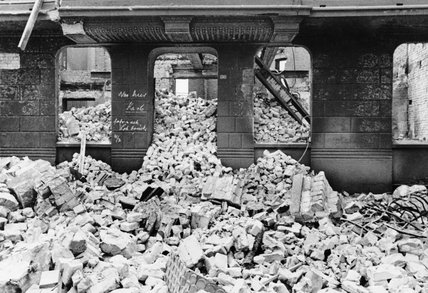 Bomb damage in Hamburg following the RAF Bomber Command raids in July 1943.