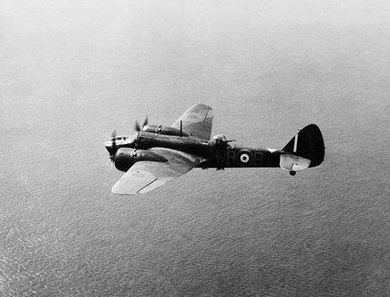 Bristol Blenheim Mk IV of No. 248 Squadron RAF in flight over the North Sea, 1940.