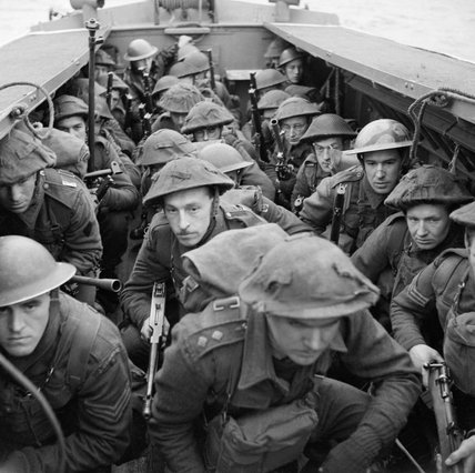 Army Commandos in a landing craft during training in Scotland, 28 February 1942.
