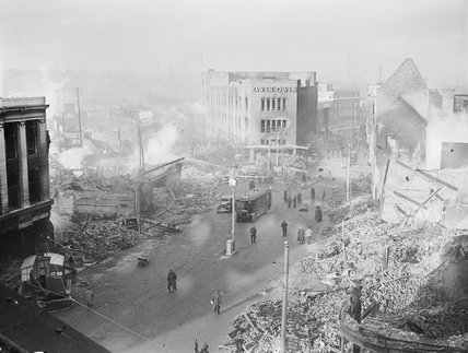 Bomb damage in the centre of Coventry, following the German air raid on the night of 14 November 1940.