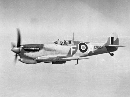Supermarine Spitfire Mark VC of No. 73 Operational Training Unit in flight over Egypt, January 1943.