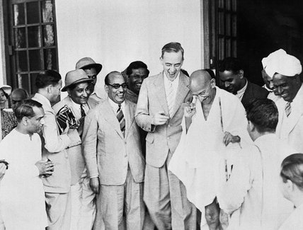 Sir Stafford Cripps with Mahatma Gandhi on the steps of Birla House, Delhi, during his mission to India, April 1942.