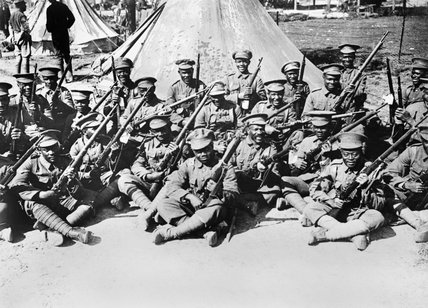 Men of the British West Indies Regiment in camp on the Albert - Amiens Road, September 1916.