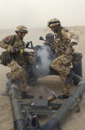 105mm guns of 'G' Battery (Fighting Mercer's Troop), 7 Para, Royal Horse Artillery in a live firing exercise in Kuwait, during preparations for operations in Iraq, 21 February 2003.