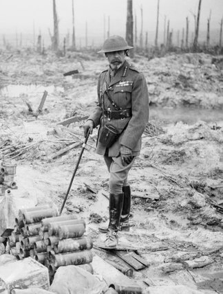 HM King George V, on Wytschaete Ridge in Belgium on 4 July 1917 during a tour of the Western Front.