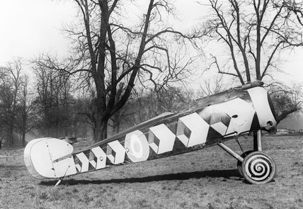 Experimental camouflage on the fuselage of a Sopwith camel, developed during the First World War to disguise the aircraft's direction of flight.