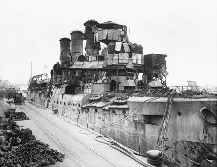 The battered cruiser HMS VINDICTIVE at Dover after the Zeebrugge raid, 23 April 1918.