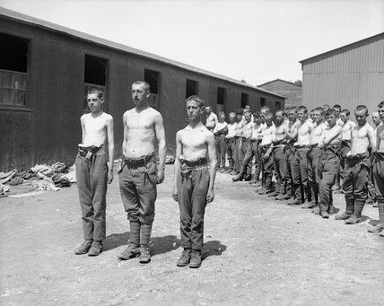 New recruits at a British army base camp at Etaples, 1918.