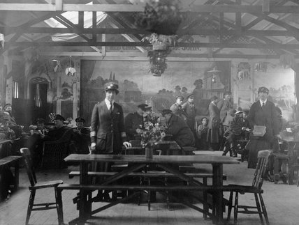 Interior of the British Red Cross Society / Order of St John recreation hut at Wimereux in late 1918.