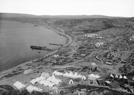 Ocean or North Beach, north of Ari Burnu and Anzac Cove looking towards Suvla during the Gallipoli Campaign, 1915. In the foreground is No.1 Australian Stationary Hospital.