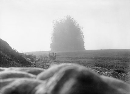 The mine under German front line positions at Hawthorn Redoubt is fired 10 minutes before the assault at Beaumont Hamel. First day of the Battle of the Somme, 1 July 1916.