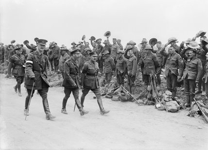 King George V, with Generals Plumer, Godley and Harper, inspecting New Zealand infantry units about to entrain at Steenwerck, 14 August 1916.