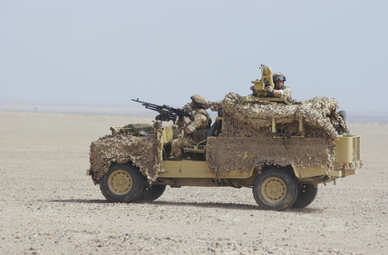 A Landrover used by 1st Battalion, The Parachute Regiment to guard the perimeter of Camp Commando in Kuwait during preparations for operations in Iraq, 24 February 2003.