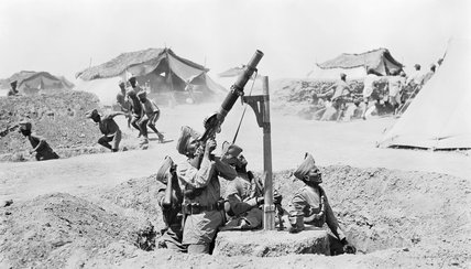 An Indian Lewis gun team engage an enemy aircraft in Mesopotamia during 1918.