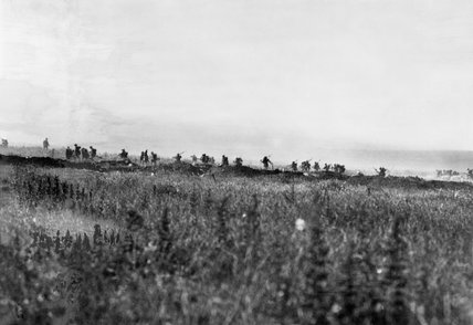 Infantry from 103rd (Tyneside Irish) Brigade, 34th Division, advancing to attack La Boisselle on the morning of 1 July 1916, the opening day of the Battle of the Somme.