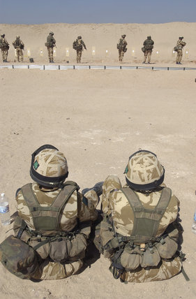 British troops on a firing range in Kuwait during preparations for Operation 'TELIC', the invasion of Iraq, 2003.
