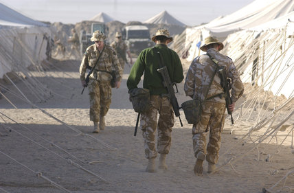 British soldiers in a camp in Kuwait during Operation 'TELIC', the invasion of Iraq, 2003.