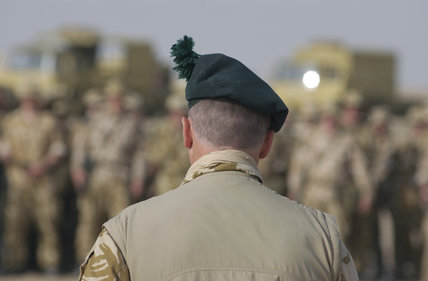 CO of 1st Battalion, Royal Irish Regiment Battle Group, addresses his troops about the forthcoming campaign in Iraq - Operation 'TELIC', 5 March 2003.