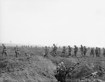 British reinforcements crossing the old German front line during the advance towards Flers on 15 September 1916 during the Battle of the Somme.