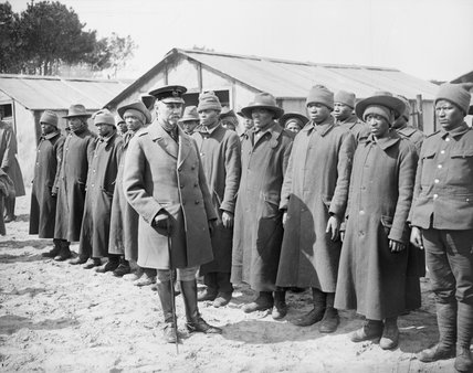 General Smuts inspecting men of a South African Native Labour Unit at Dannes, April 1917.