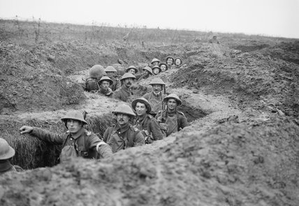 Men of the 11th Battalion, Royal Inniskilling Fusiliers in a captured German communications trench near Havrincourt during the Battle of Cambrai, November 1917.