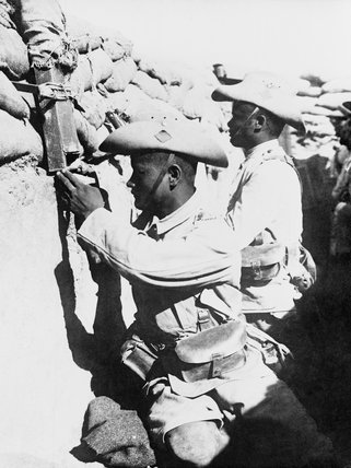 Sentries of the 3/3rd Gurkha Rifles in the front line trenches in Palestine during 1917.