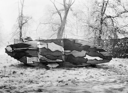 A camouflaged dummy tank at the Royal Engineer's School of Camouflage, Kensington Gardens, London, during the First World War.