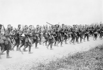 Soldiers of the 10th Battalion, East Yorkshire Regiment marching to the trenches near Doullens, 3 July 1916.