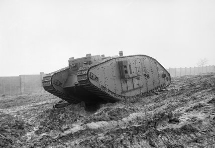 A Mk IV Female Tank on the testing ground at Cricklewood, north-west London during 1917.
