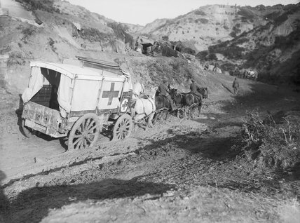 An ambulance wagon in Gully Ravine in November 1915 during the Gallipoli Campaign.