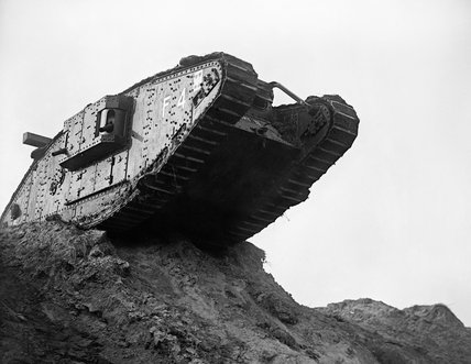 Tank F4, 'Flirt II', at the Tank Driving School at Wailly on 21 October 1917, in training for the Battle of Cambrai.