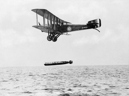 Sopwith Cuckoo dropping a torpedo during trials at the Torpedo Aeroplane School, East Fortune, 24 - 26 July 1918.