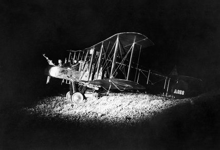 An FE2b aircraft of No.100 Squadron, Royal Flying Corps, prepares to set out on a night bombing operation in France during 1917.