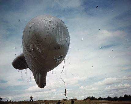 Barrage balloons near Biggin Hill in Kent, part of the defences on the south-eastern approaches to London to combat V-1 flying bombs, 1944.