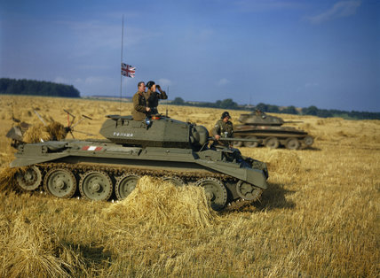The Commander-in-Chief Home Forces, General Sir Bernard Paget, in a Crusader tank of 42nd Armoured Division during a large-scale exercise near Malton in Yorkshire, 29 September 1942.
